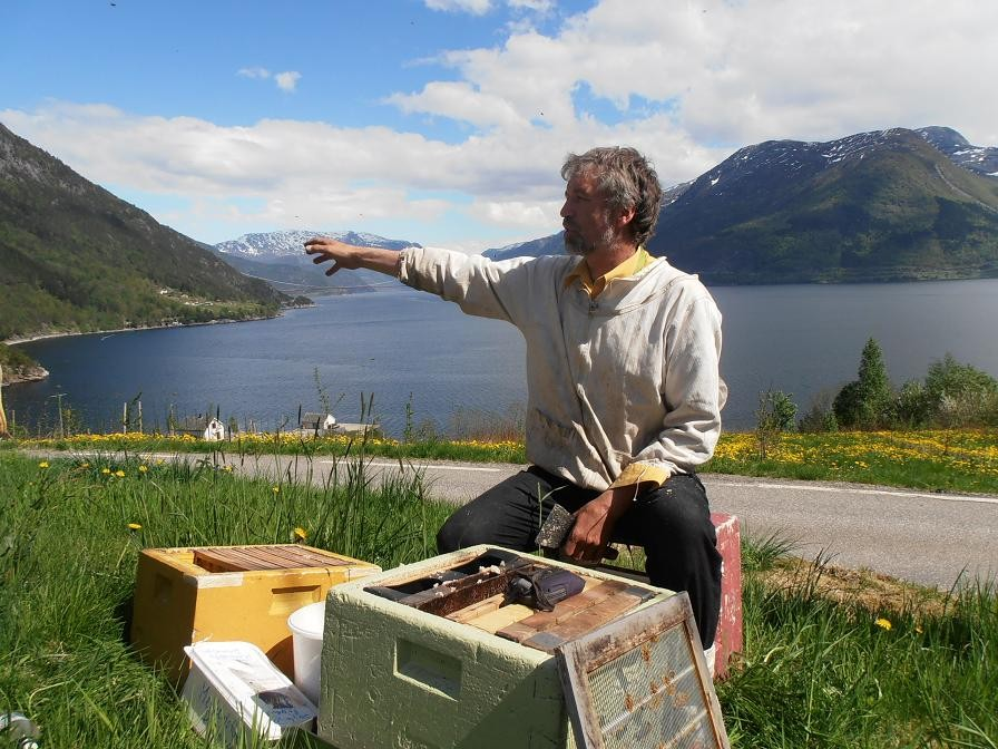 Alf Helge forteller om pollineringsbirøktr om